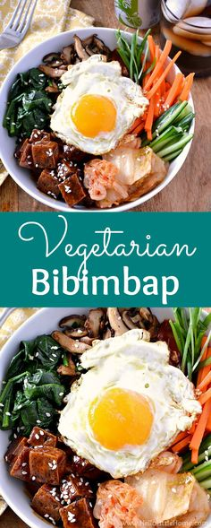 Vegetarian Bibimbap recipe! Learn how to make Bibimbap with this easy recipe … vegan friendly! These Bibimbap Rice Bowls are made with tofu with a mouthwatering Korean BBQ glaze, veggies, kimchi, gochujang sauce, and a fried egg on top. This healthy Bibimbap recipe is full of vegetables, protein, and tons of flavor. Great vegetarian Korean recipe families will love! | Hello Little Home #koreanfood #korean #koreanrecipe #bibimbap #vegetarianbibimbap #vegetarianrecipes #ItsAMatch #DietCoke #ad