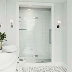 """Chrome Powell 74"""" High x 48"""" Wide Hinged Frameless Shower Door with Clear Glass Vigo Shower Doors, Bathroom Shower Doors, Frameless Shower Doors, Glass Shower Doors, Bathroom Cabinets, Bathroom Canvas, Diy Shower, Shower Ideas, Modern Shower"""