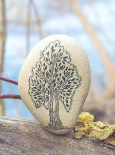 Tree Eco Unique Gift for her/ Natural Eco-friendly decor/ Tree Natural Beach Stone Art. Tree Desk decoration