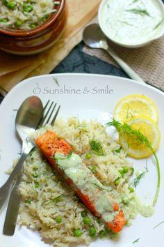 [SALMON WITH CREAMY DILL SAUCE] :: salmon fillet, frozen peas, cumin seeds, basmati rice, lemon, oil, salt & pepper. (Sauce): yogurt, cup cream, fresh dill, cilantro, dried oreganno, dried parsley, clove of garlic, lemon juice, EVOO, salt & pepper.