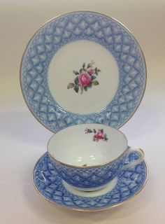 Spode Copelands vintage trio blue and white with pink and blue flowers