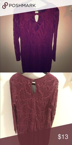 Charlotte Russe Plus Size Dress NWOT. Maroon lace dress. Very cute! Charlotte Russe Dresses Long Sleeve