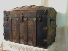 Antique Steamer Trunk Old World Pirate Treasure Chest by PatchworkThriftShop