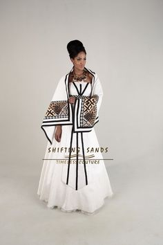 Shifting Sands Traditional African Xhosa inspired ball gown with front panel beading and african print shaw African Wedding Attire, African Attire, African Wear, African Women, African Dress, African Traditional Wedding, African Traditional Dresses, Traditional Outfits, Traditional Styles