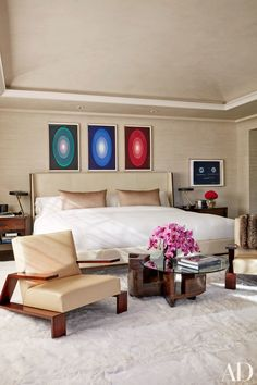 James Turrell etchings, published by Pace Prints, hang above the bed in Kourtney Kardashian's master suite. To head the project, Kourtney called upon Martyn Lawrence Bullard, who also designed the home of her sister, Khloe. | archdigest.com