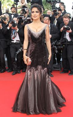 """Salma Hayek - Gucci  Salma Hayek poses before the screening of """"Madagascar 3 Europe's Most Wanted"""" wearing a gown by Gucci at the 65th Cannes film festival on May 18, 2012 in Cannes."""