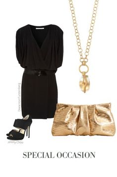 Look sexy and bold for a night out in a plunging black dress with the Snake Orb Pendant Necklace.  We love the open link on this chain, and the gold finish pops against the black dress, giving you an effortlessly chic look.  Keep the look elegant with our limited edition La Coco Clutch in gold.  www.stelladot.com/wcfields