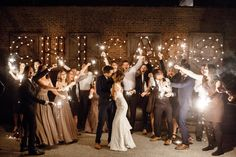 FUN group sparkler exit! BLAKE + NICOLE (Salvage One, Chicago) - Janelle Elise photography