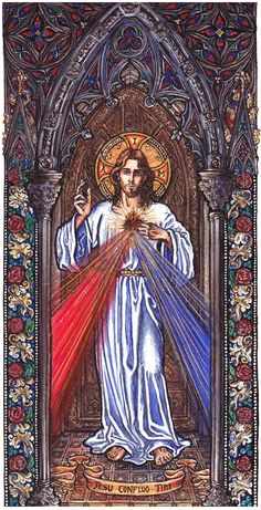 """Divine Mercy Iam offering people a vessel with which they are to keep coming for graces to the fountain of mercy.That vessel is this image with the signature:""""Jesus,I Trust in You."""" (Diary of Catholic Art, Catholic Saints, Religious Art, Roman Catholic, Miséricorde Divine, Divine Mercy Image, Divine Mercy Jesus, Jesus Christ Images, Jesus Art"""