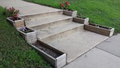 Great idea- flower boxes along front steps