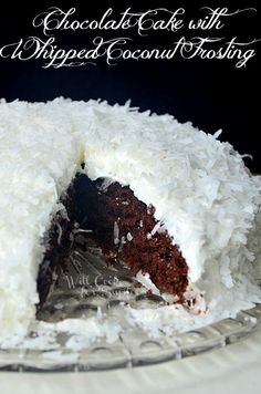 This is such a delicious, rich chocolate cake topped with light, whipped coconut frosting and sprinkled with coconut flakes.