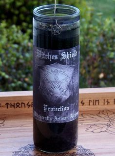 WITCHES SHIELD Pentacle Power Protection Ritual Vigil 7 Day Spell Jar Candle - Hoodoo Conjure, Warding, Shielding, Banishing, Black by ArtisanWitchcrafts, $15.95