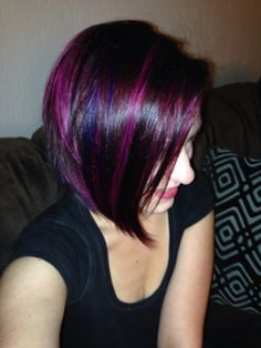 Purple, magenta and red violet hair color.
