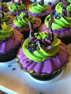 I made these Maleficent Cupcakes for my daughter's Descendants Birthday Party