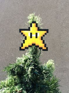 Perler Sprites Star Tree by ShowMeYourBits Star Tree Topper, Tree Toppers, Nightmare Before Christmas, Grinch, Mario Brothers Games, Perler Patterns, Pearler Beads, Sprites, Super Mario