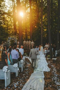 Wedding in the woods at Sunset