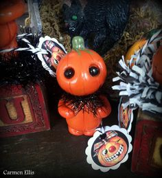 Miniature Pumpkin man doll clay figurine by SpookyHollow on Etsy