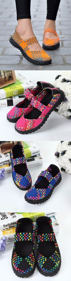 US$18.55 Color Match Knitting Elastic Handmade Slip On Flat Casual Outdoor Shoes