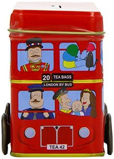 English Tea London Red Bus Tea Tin Traditional English Breakfast Tea in Iconic London Red Double Decker Bus Money Box * See this great product.