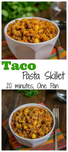 Taco Pasta Skillet –  All the flavors of taco night in a one pan meal, ready in 20 minutes!  Homemade version of taco Hamburger Helper, with just a few staple ingredients.
