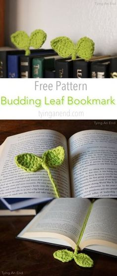 [Free Crochet Pattern] Cute little leaves to guide your reading! Budding Leaf Bookmark by Tying An End [Free Crochet Pattern] Cute little leaves to guide your reading! Budding Leaf Bookmark by Tying An End Marque-pages Au Crochet, Bonnet Crochet, Crochet Amigurumi, Learn To Crochet, Cute Crochet, Crochet Stitches, Crochet Books, Diy Crochet Gifts, Crochet Braid