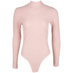 Boohoo Ava Turtle Neck Long Sleeve Rib Knit Bodysuit (275 ZAR) ❤ liked on Polyvore featuring tops, sweaters, turtleneck bodysuit, turtleneck sweater, pink turtleneck, pink turtleneck sweater and sequin sweater