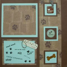 Items similar to Puppy Love - Scrapbook Page - on Etsy Dog Scrapbook Layouts, Love Scrapbook, Scrapbook Borders, Scrapbook Albums, Scrapbooking Ideas, Dog Corner, Family Photo Frames, Kittens And Puppies, Planner Pages