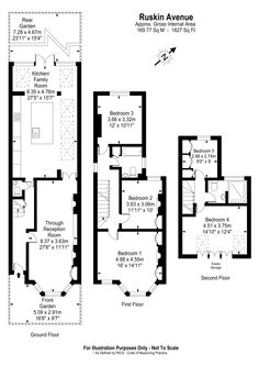 Ruskin floorplan 2 loft bedrooms House Extension Plans, Side Extension, Extension Ideas, London Townhouse, London House, Loft Floor Plans, House Floor Plans, Loft Conversion Plans, Scottish Cottages