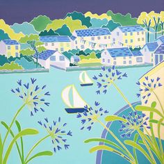 Sailing past the Agapanthus, Helford-Original Painting by Joanne Short
