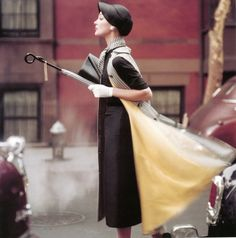 Traffic New York, American Vogue 1957, photo by Norman Parkinson....repinned by Maurie Daboux ღ ✺ღ❃ღ✿
