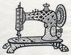 Vintage Sewing Machine 2 (Blackwork) design (J8488) from www.Emblibrary.com