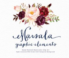 Watercolor floral Clip Art-Marsala Graphic by GraphicSafari