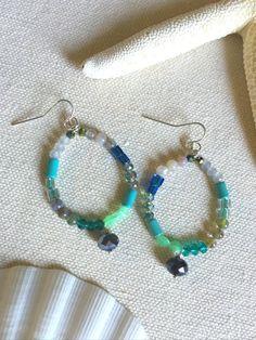 Gemstone Hoop Earrings Blue Beaded Hoop Earrings by LaniMakana