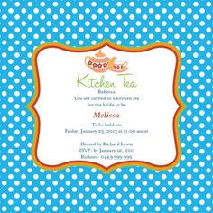 A great contrasting invitation card for a delightful kitchen tea party thrown in honour of the bride, this wonderful Betty Boo invite card comes in Sea blue as square design with a magnet. Decked in a white on blue polka dots pattern with a border to sepa Kitchen Tea Invitations, Bridal Shower Invitations, Kitchen Tea Parties, Outdoor Tea Parties, Hens Night, You Are Invited, Blue Polka Dots, Invitation Cards, Rsvp