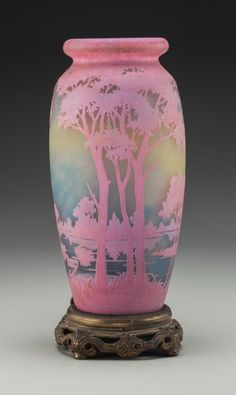 Daum Overlay Glass Landscape Vase Mounted as a Lamp Circa 1915. Cameo Daum, Nancy, (Cross of Lorraine) Ht. 12 in.