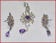 """Romaine""...only $800 or P35,200!! 0.66c DIAMOND FUSION 2k GOLD PARTY AMETHYST PENDANT SET! Imported, world-class quality, not pre-owned, not pawned, not stolen. We deliver worldwide <3"
