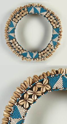 Democratic Republish of Congo | Collar necklace from the Kuba people; glass beads, cowrie shells and raffia