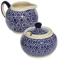 Polish Pottery Sugar Bowl and Creamer From Zaklady Ceramiczne Boleslawiec…