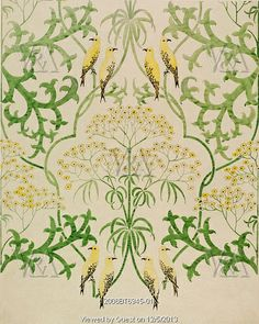 Fool's Parsley wallpaper design, by C.F.A.Voysey. England, early 20th century