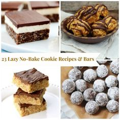 23 Lazy No Bake Cookie Recipes & Bars, including Lazy Peanut Butter Rice Krispie Balls, Best Ever Rum Balls, and Mississippi Mud Cookies.