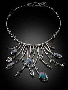 Opal & Blue Topaz Shard Necklace with 18K gold accents Bonnie Hedden Designs