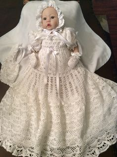A personal favorite from my Etsy shop https://www.etsy.com/listing/273079668/5-crochet-patterns-of-christening-gowns
