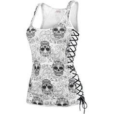 Skull Tank Top Laced Up Sides