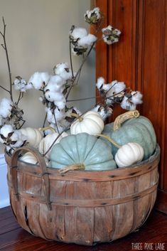 Three Pixie Lane Green & white pumpkins and cotton*