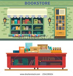 Bookstore. Books, science, knowledge. Storefront and a shelf with books. Vector flat illustration