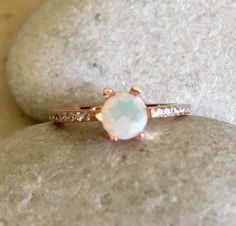 6 Prong Opal Ring- Promise Ring- Engagement Ring- Rose Gold Opal Ring- Classic Engagement Ring- Rings for Her- Stone Ring- Natural Opal Ring by Belesas on Etsy https://www.etsy.com/listing/253309152/6-prong-opal-ring-promise-ring