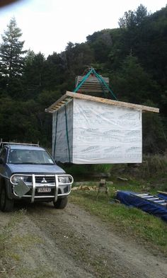 The new station hut for Awakeri Rail Adventures being hoisted into place on the decommissioned Taneatua Rail Line in preparation for the exciting new tourist and rail enthusiasts venture in sunny Whakatane New Zealand Self Driving, New Zealand, Adventure, Places, Adventure Movies, Adventure Books, Lugares