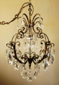 Beautiful vintage French brass cage crystal chandelier