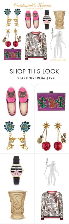 """""""Occidentali's karma"""" by alvufashionstyle ❤ liked on Polyvore featuring Markus Lupfer, GEDEBE, Casadei, Gucci, Kate Spade, Seletti, Lalique and Maje"""