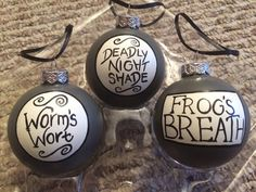 The Nightmare Before Chrismtas Deadly Night Shade Worms Wort and Frogs Breath Hand Painted Christmas Ornaments Set of 3